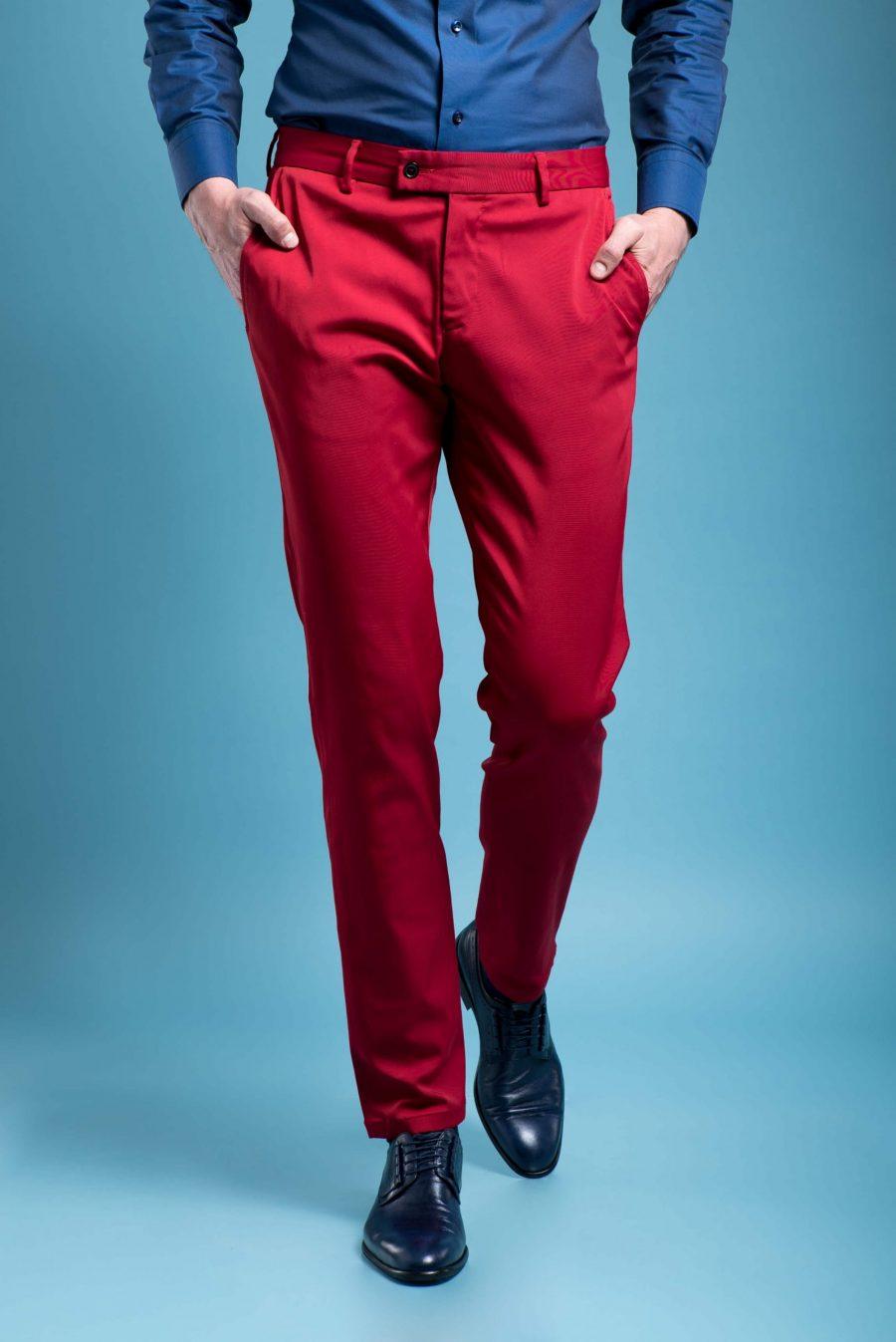 Pantaloni casual visinii din bumbac